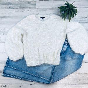 Eyelash sweater puff sleeves